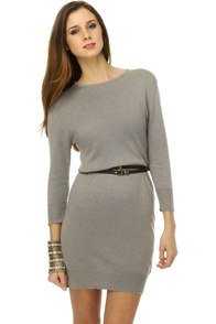 Tulle Shade of Winter Grey Sweater Dress