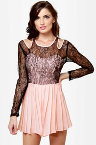 Romp-shaker Peach and Black Lace Romper