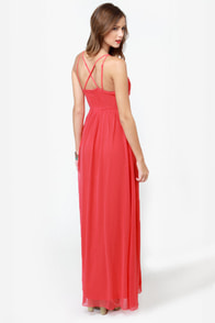 Tug at Your Heart Strings Coral Maxi Dress