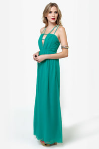 Tug at Your Heart Strings Teal Maxi Dress at Lulus.com!
