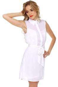 Hottie Under the Collared White Shirt Dress at Lulus.com!