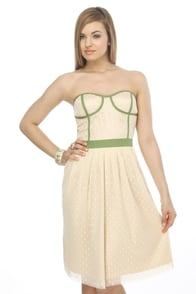 Ring of Kerry Strapless Beige Dress