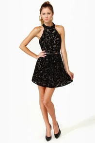 Velvet-iculture Black Halter Dress