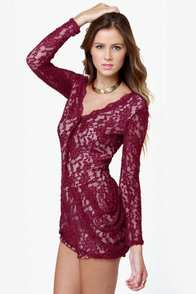 Rhonda Burgundy Lace Romper at Lulus.com!
