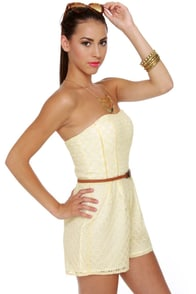 Lace Cadet Cream Lace Romper at Lulus.com!