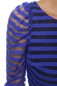 Magnetic Poles Striped Blue Romper