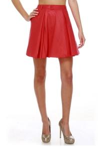 Ardent Affair Pleated Red Skirt