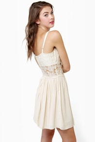 Vanilla Puddin' Cream Lace Dress at Lulus.com!