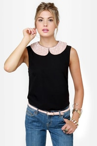 Pearly Sue Beaded Black Top at Lulus.com!
