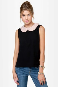 Pearly Sue Beaded Black Top