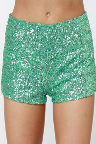 Dance-a-thon Mint Green Sequin Shorts at Lulus.com!