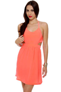 BB Dakota Lunette Neon Coral Halter Dress at Lulus.com!