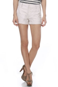 BB Dakota by Jack Brinly Beige Linen Shorts