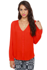 BB Dakota by Jack Lil Orange Button-Up Top at Lulus.com!