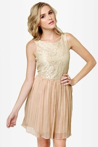BB Dakota by Jack Javier Beige Lace Dress