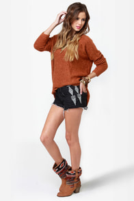 Billabong Lowah Embroidered Black Jean Shorts