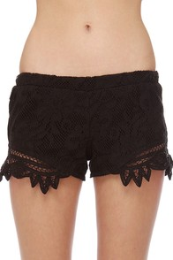 Billabong Oracle Fox Gypsetty Pull-On Black Lace Shorts