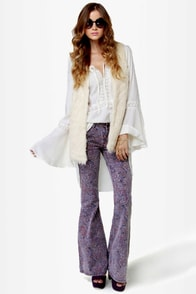 Billabong Jagger Purple Paisley Print Flare Jeans at Lulus.com!