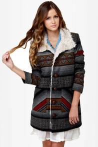 Billabong Zippora Black Tribal Woven Jacket