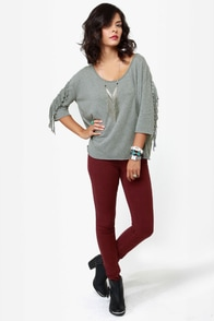 Billabong At Last Grey Fringe Top at Lulus.com!
