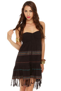 Billabong Stompless Beat Black Bandeau Dress at Lulus.com!