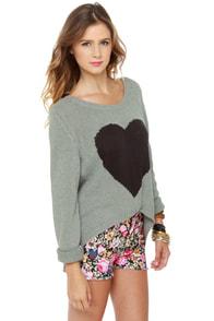 Billabong Homegirlz Po Crop Grey Heart Print Sweater at Lulus.com!