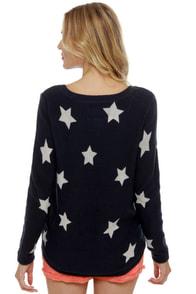 Billabong Homegirlz Po Crop Navy Star Print Sweater at Lulus.com!