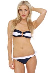 Mariner's Hymn Navy Blue Bandeau Bikini