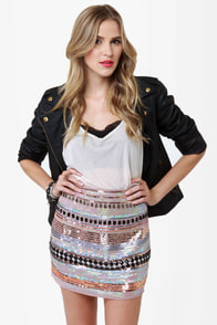 Undersea Casino Taupe Sequin Skirt
