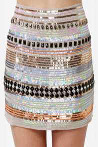 Undersea Casino Taupe Sequin Skirt at Lulus.com!