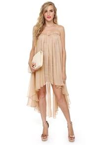 Blaque Label Aeriform Strapless Beige Dress