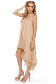 Blaque Label Aeriform Strapless Beige Dress at Lulus.com!