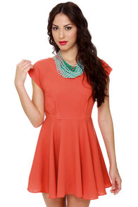 Blaque Label West Side Glory Coral Orange Dress