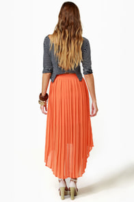 Crowd Pleats-er Orange Pleated Skirt at Lulus.com!