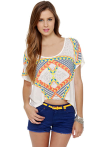 WkShp Temple Ivory Print Crop Top