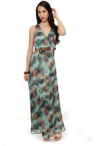 Costa Blanca Secret Forest Print Maxi Dress