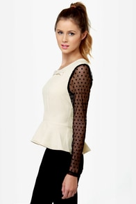 Darling Natalia Black and Beige Top at Lulus.com!