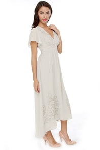Darling Evelyn Embroidered Grey Maxi Dress