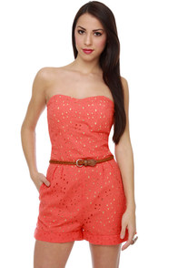 Peachy Rings Coral Lace Romper