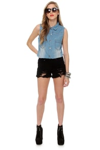 Hardly Strictly Sleeveless Denim Shirt at Lulus.com!