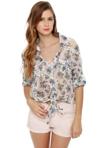 Tree House Time Floral Print Crop Top