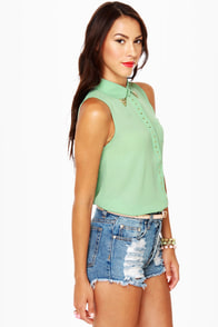Hip Tips Sleeveless Mint Top at Lulus.com!