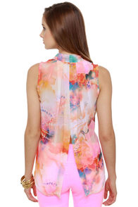 Lotus Sutra Sheer Print Top at Lulus.com!
