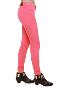 Moves Like Jagger Coral Pink Jeggings at Lulus.com!