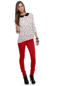 Moves Like Jagger Red Jeggings