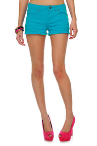 Shawty a Ten Aqua Blue Cutoff Shorts at Lulus.com!