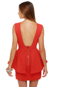 Structure-y Goods Coral Red Dress at Lulus.com!