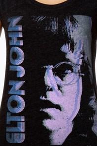 Chaser Elton John's Stare Black Muscle Tee at Lulus.com!