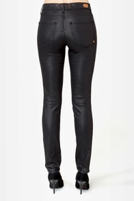 Dittos Dawn Mid Rise Shimmer Black Skinny Jeans