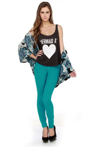 Level 99 Janice Ultra Skinny Aqua Jeggings